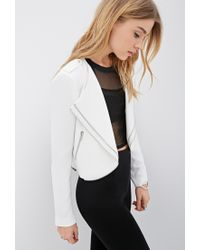 Forever 21 | Natural Zippered Tiered-lapel Jacket | Lyst