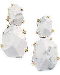 kate spade new york - White 14k Gold-plated Stone Drop Earrings - Lyst
