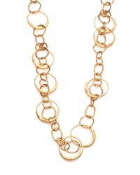Tory Burch | Metallic Hammered Link Long Necklace | Lyst