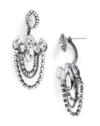 TOPSHOP - Metallic Crystal Drop Back Earrings - Lyst