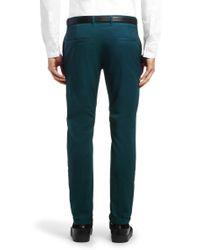 HUGO - Green Slim-Fit Cotton Blend Chinos 'Heldor 1' for Men - Lyst