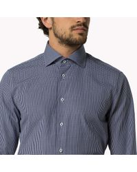 Tommy Hilfiger - Blue Cotton Poplin Fitted Shirt for Men - Lyst