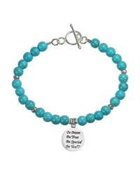 Aeravida - Blue 'be You' Special Inspirational .925 Silver Pendant And Turquoise Bracelet - Lyst