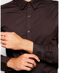 SELECTED | Brown Formal Shirt With Concealed Button Down Collar In Slim Fit for Men | Lyst