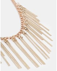 French Connection   Metallic Herringbone and Snake Fringe Collar Necklace   Lyst