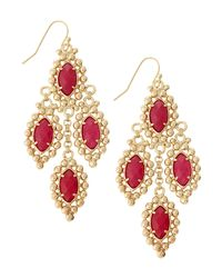 Kendra Scott | Metallic Fiona Beadedset Chandelier Earrings Pink Onyx | Lyst