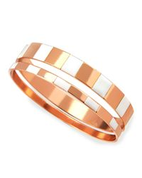 Tuleste - Metallic Enamel Step Bangles In White/rose - Lyst