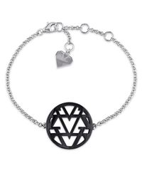 Versace | Metallic Openwork Bracelet In Sterling Silver With Black Rhodium | Lyst