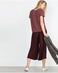 Zara | Purple Cropped Trousers | Lyst