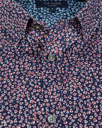 Ted Baker - Blue Leojak Print Button Down Shirt - Regular Fit for Men - Lyst
