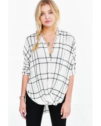 BDG | White Structured Surplice-front Button-down Shirt | Lyst