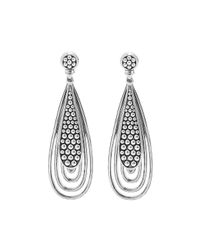 Lagos | Metallic Caviar Silver Teardrop Earrings | Lyst