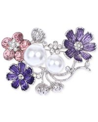 Jones New York - Purple Silver-tone Faux Pearl And Crystal Flower Pin - Lyst