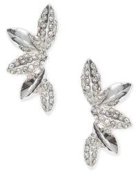 Anne Klein - Metallic Silver-tone Crystal Cluster Ear Cuff Earrings - Lyst