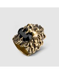Gucci | Metallic Lion Head Ring With Swarovski | Lyst