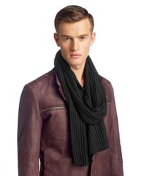 HUGO | Black 'zapo' | Virgin Wool Knit Scarf for Men | Lyst