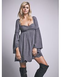 Free People | Gray Duchess Babydoll Dress | Lyst
