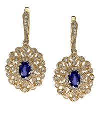 Effy | Metallic Sapphire, Diamond And 14K Yellow Gold Drop Earrings | Lyst