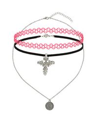 TOPSHOP | Red Cross Charm Tattoo Choker Pack | Lyst