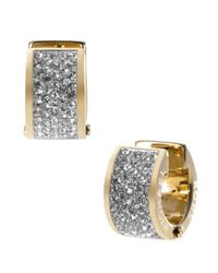 Michael Kors | Metallic Gold Tone And Crystal Huggie Earrings | Lyst