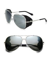 Roberto Cavalli - Metallic Leather Detail 60mm Aviator Sunglasses - Lyst