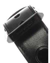 Saint Laurent | Black De Force Leather Cuff for Men | Lyst