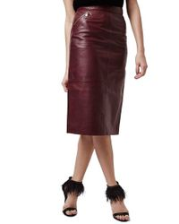 topshop leather midi skirt in lyst