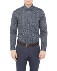 Ted Baker - Blue Trammo Tile Print Cotton Shirt for Men - Lyst
