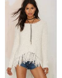 Nasty Gal | Natural You've Been Warmed Fringe Sweater | Lyst