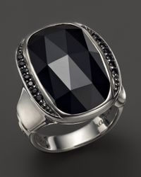 John Hardy | Batu Bamboo Silver Large Octagon Ring With Black Chalcedony And Black Sapphire | Lyst