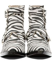 Toga Pulla - Black and White Zebra Western Buckle Boots - Lyst