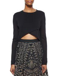 BCBGMAXAZRIA - Black Renea Cross-front Cropped Sweater - Lyst