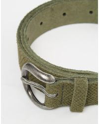 ASOS - Green Suede Belt With Snakeskin Emboss for Men - Lyst