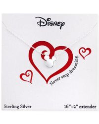 Disney - Metallic Mickey Mouse Pendant Necklace In Sterling Silver - Lyst