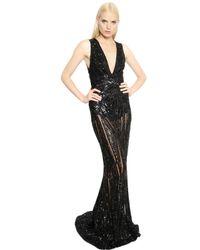 Zuhair Murad | Black Beaded Sleeveless A-line Gown | Lyst