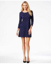 Kensie - Blue Polka-dot Printed Dress, A Macy's Exclusive Style - Lyst
