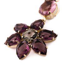 Alberta Ferretti   Pink Crystal Flower Drop Earrings   Lyst
