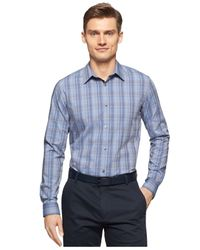 Calvin Klein | Blue End-on-end Tonal-plaid Long-sleeve Shirt for Men | Lyst