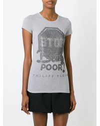 Philipp Plein - Gray 'stop Being Poor' T-shirt - Lyst