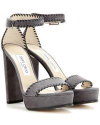 Jimmy Choo - Gray Holly Suede Platform Sandals  - Lyst