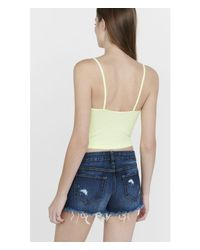 Express - White One Eleven Cropped Ribbed Cami - Lyst