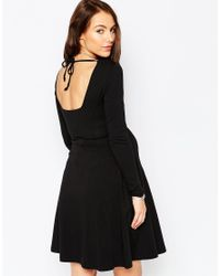 ASOS - Black Skater Dress With Lace Up Front - Lyst