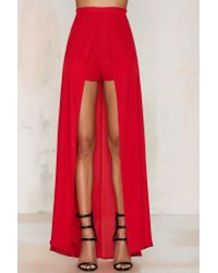 Nasty Gal - Analisa Layered Shorts - Red - Lyst