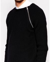 ASOS - Black Longline Lambswool Rich Jumper With Zip for Men - Lyst