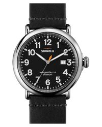 Shinola | Black 'the Runwell' Round Leather Strap Watch for Men | Lyst