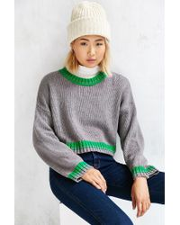 BDG - Gray Cropped Anna Sweater - Lyst