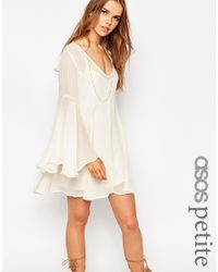 ASOS | Natural Petite Boho Swing Dress With V Neck | Lyst