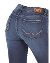 Superdry - Blue Skinny Washed Cotton Denim Jeans for Men - Lyst