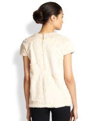 L'Agence - White Rabbit Fur Sweatshirt Tee - Lyst