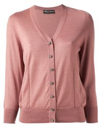 Dolce & Gabbana | Pink Cropped Sleeve Cardigan | Lyst